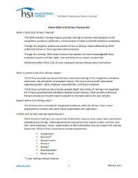 Download OSHA 10/30 Frequently Asked Questions document