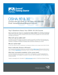 Download OSHA 10/30 Course Outlines